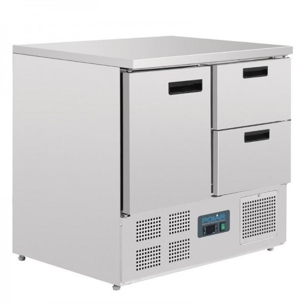 Polar Arbeitstisch Mit Kühlschrank, Edelstahl, 1 Tür Und 2 Schubladen