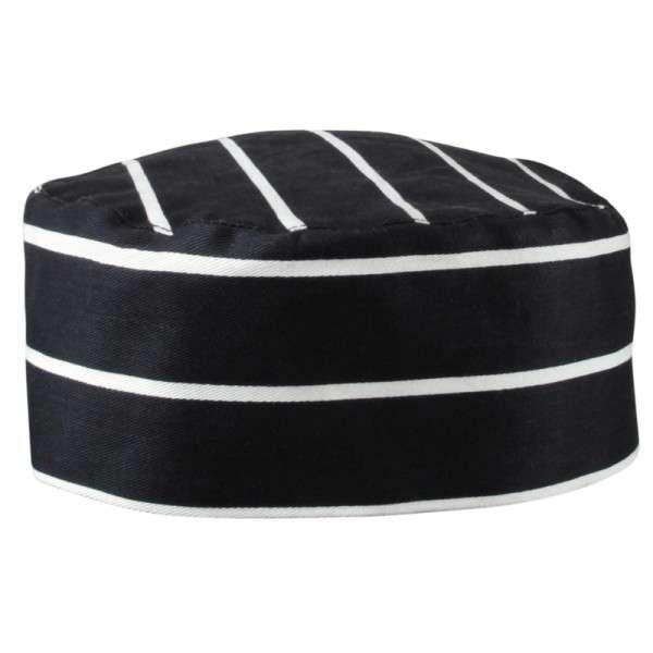 Kochmütze schwarz weiß gestreift