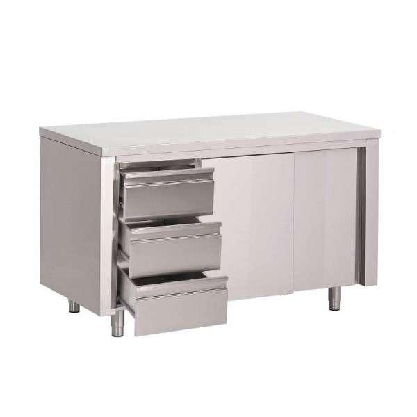 Arbeitstisch mit 3 Schubladen und Schiebetüren aus Edelstahl 1500x700x850 mm