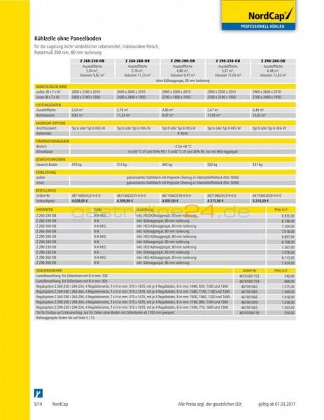 KÜHLZELLE OHNE PANEELBODEN Typ: Z-260-230-OB