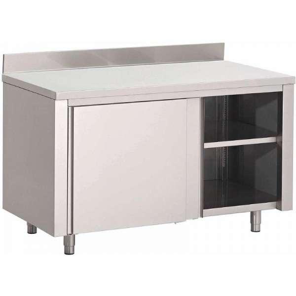 Arbeitstisch mit Schiebetüren und Aufkantung aus Edelstahl 1800x700x850 mm