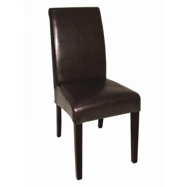 Kunstlederstuhl mit runder Rückenlehne dunkelbraun